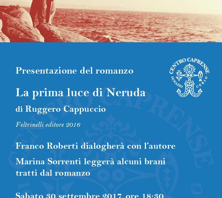 La prima luce di Neruda, presentazione il 30 settembre