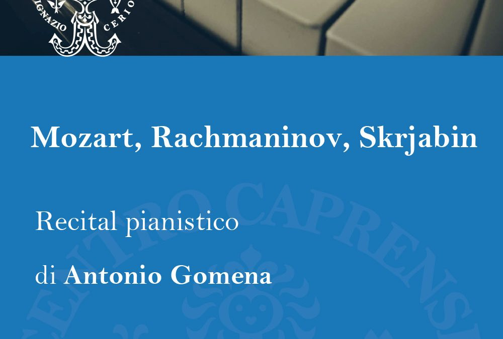 Mozart, Rachmaninov, Skrjabin, venerdì 21 settembre alle 18:30