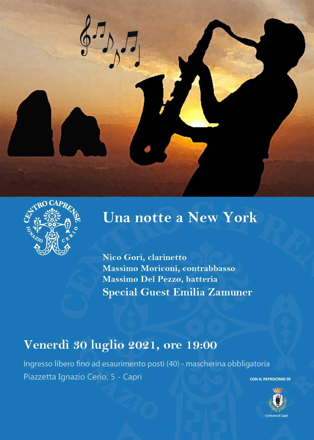 Concerto Una notte a New York, venerdì 30 luglio 2021